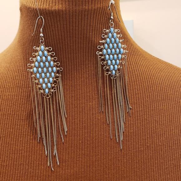 Jewelry - Diamond Shape Turquoise Beaded Earrings